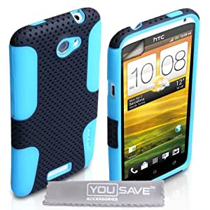 HTC One X Case Dual Combo Mesh Silicone Cover Black / Blue With Screen Protector