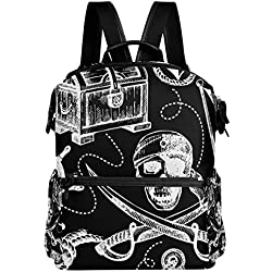 TIZORAX - Mochila Escolar con diseño de Calavera Pirata, para niños, niñas