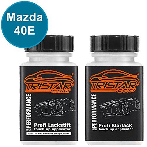 TRISTARcolor Autolack Lackstift Set für Mazda 40E Aquatic Blue Metallic Basislack Klarlack je 50ml -