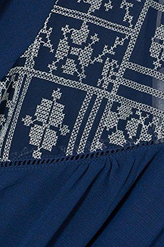 Robe femme fluide en voile imprimé et broderie dentelle bohème Maypearl – Manches 3/4 – Cherry Paris – Disponible en 2 couleurs : Marine Noir Marine