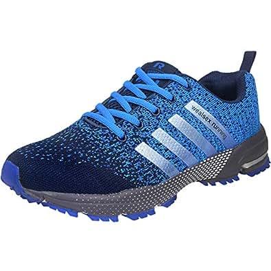 f6097614eba3b wealsex Chaussures De Course Basket Running Compétition Sport Trail  Entraînement Homme Femme Fitness Tennis Sneakers Bleu