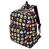 Emoji Backpack, Caveen 2Pcs Childrens Bag Pencil Case Cute 3D Emoji Emotion Rucksack Unisex Cartoon Bag for Boys Girls Casual Daypack Travel Hand Cabin Luggage Emoji Hologram Bag School Outdoors