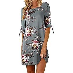 Heiß! Damen Kleid Yesmile Frauen Frühling Sommer Lose Halbe Hülse Minikleid Blumendruck Bowknot Ärmeln Cocktail Minikleid Casual Party Kleid (XL, Grau)