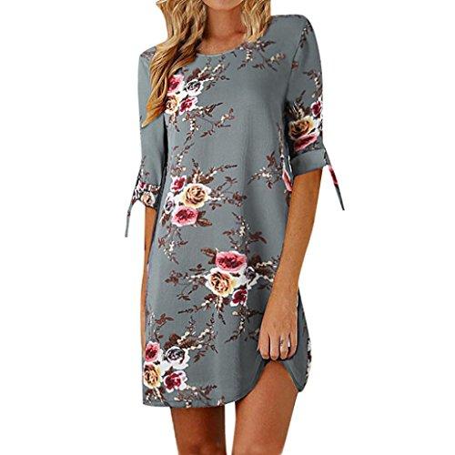 (Heiß! Damen Kleid Yesmile Frauen Frühling Sommer Lose Halbe Hülse Minikleid Blumendruck Bowknot Ärmeln Cocktail Minikleid Casual Party Kleid (3XL, Grau))