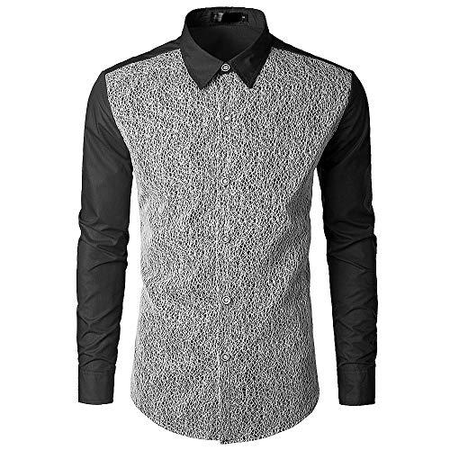 ITISME TOPS Mode Männer Herbst Casual Spitze Ptchwork Shirts Langarm Shirt Top Bluse Winter Warm halten