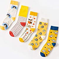 CYMTZ 5 Par/Paquete De Calcetines De Algodón para Mujer, Calcetines Divertidos para Mujer, Calcetines De Animales Bonitos, Calcetines De Arte De Frutas para Amantes1