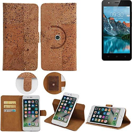 K-S-Trade Schutz Hülle für TP-LINK Neffos C5A Handyhülle Kork Handy Tasche Korkhülle Handytasche Wallet Case Walletcase Schutzhülle Flip Cover Smartphone