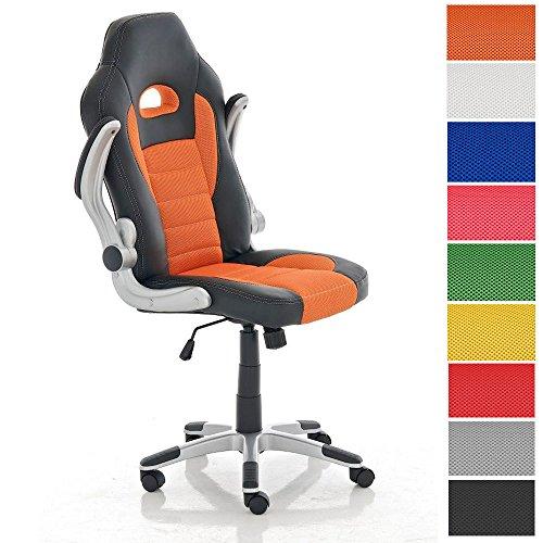 CLP Gamingstuhl John mit klappbaren Armlehnen und Kunstlederbezug I Bürostuhl mit Polsterung und Einer max. Belastbarkeit von 136 kg I erhältlich Orange