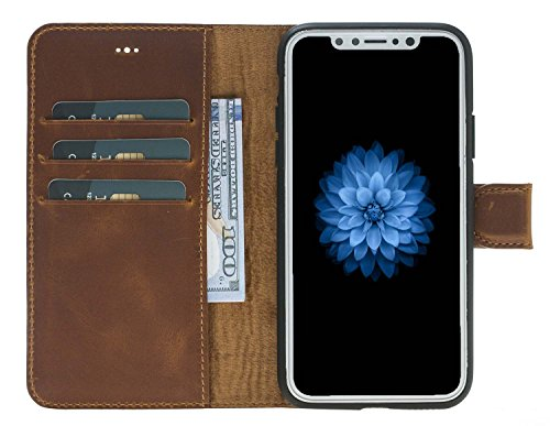 Solo Pelle Iphone X abnehmbare Lederhülle (2in1) inkl. Kartenfächer für das original Iphone X in Schwarz Camel Braun