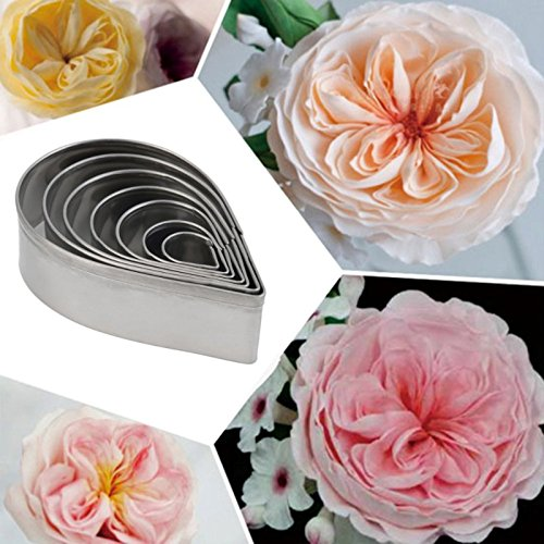 Hrph 7Pcs Küchen-Backen-Form-Fondant-Partei-Hochzeit Dekor Rose Petal Keks Kuchen Cutters Biskuit-Gebäck-Form (Petal Rose Cutter)