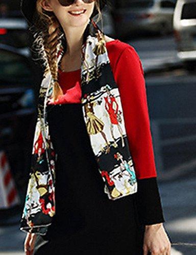 PU&PU Robe Aux femmes Gaine Simple / Street Chic,Couleur Pleine Col Arrondi Mini Autres RED-3XL