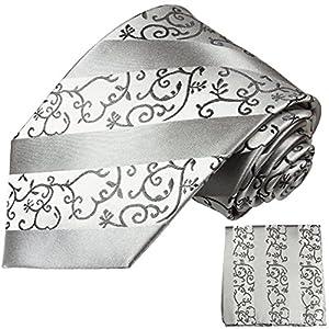 Paul Malone Silber XL Krawatten Set 100% Seidenkrawatte (Überlänge 165cm) +Einstecktuchuch