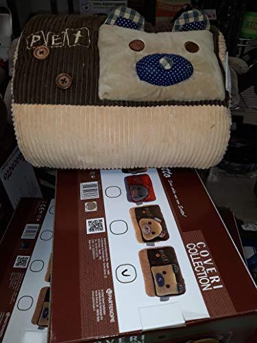 Enrico coveri collection borsa acqua calda elettrica scaldamani tascotto peluche nuovo in tessuto forma cuscino con tasche laterali