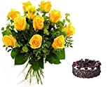 Floral Fantasy Cake and Fresh Flowers Bouquet of 12 Yellow Roses Bunch for Birthday Anniversary Friendship day Best Wishes - FFCO0036