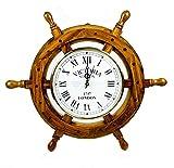 Nagina International náutica Rueda de Barco de Madera Reloj de Cuarzo - Pirate Home Decor Colgante de Pared Regalos (18 Pulgadas)