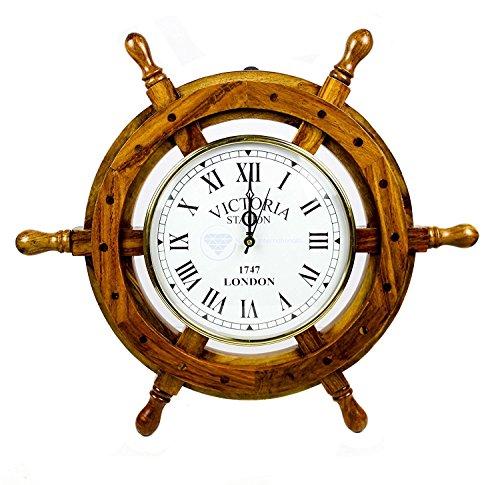 Nautisches Holz Schiff Rad mit Quarz Uhr–Pirat Home Decor Wandbehang Geschenke–Nagina International, holz, braun, 61 cm