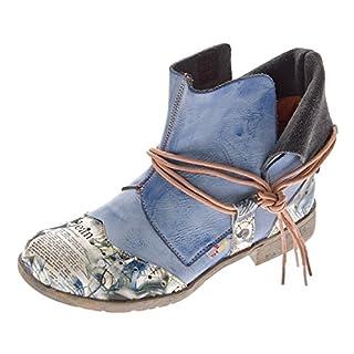 Damen Comfort Leder Stiefeletten TMA 5161 Boots Blau Knöchel Schuhe Gr. 40