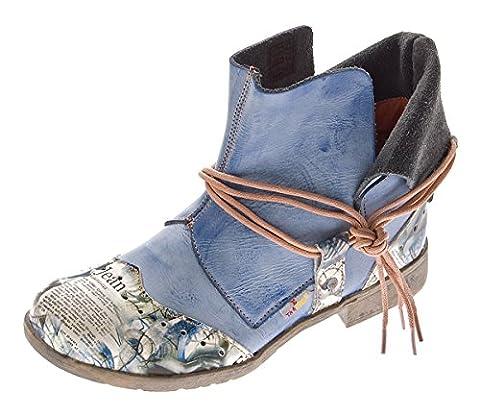 Damen Comfort Leder Stiefeletten TMA 5161 Boots Blau Knöchel Schuhe