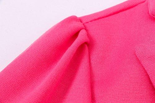 Sentao Donna Casuale Manica Lunga Giacca Blazer Slim Fit Colore Puro Top Camicetta Outwear Maglietta Rosso