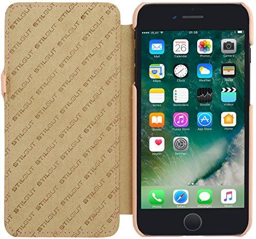 StilGut Book Type Case con clip, custodia in pelle cover per iPhone 7 (4,7) Chiusura a libro Flip-Case in vera pelle, Blu Scuro Nappa Rosa Chiaro Nappa - Carato