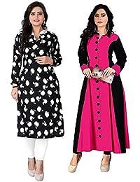 Pramukh Fashion Crepe And Cotton Kurti Pack Of 2 Kurtis Combo