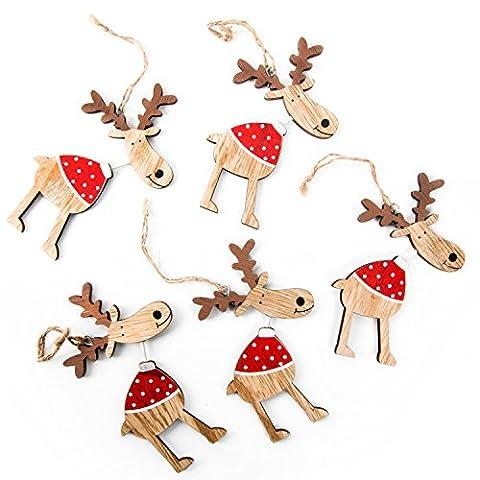 5 lustige rot weiß gepunktete natürliche Holz RENTIER Rudolph Weihnachts-ANHÄNGER (12 cm) mit Schnur - Christbaumschmuck Weihnachtsdeko Baumschmuck Weihnachtsschmuck Zierschmuck zum Aufhängen