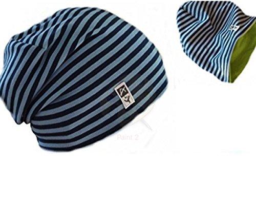 Anna York Design - coole leichte Beanie Mütze Sommermütze -2 Modelle: Beanie mit Bund einlagig oder Wendemütze doppellagig - Hergestellt in Deutschland-BIO-ÖKO-Mädchen Jungen-Kindermütze Babymütze (47, Streifen blau)