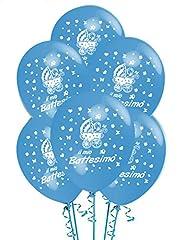 Idea Regalo - Palloncini Battesimo Azzurrro addobbi e decorazioni per feste party confezione 20 pz