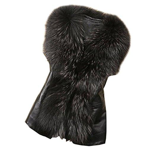 Kunstpelz Weste Sunday Damen Kunstpelz Leder Mode Jacke ärmellose Winter Körper (Schwarz, 2XL) (Jeans Lace Leder)