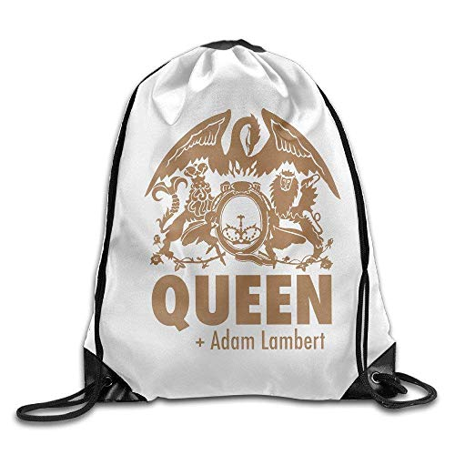 GONIESA Fashion Unisex Gym Bag Adam Lambert and Queen Logo Drawstring Backpack Sack Bag