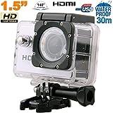 Caméra sport action étanche 1.5'' HD 720p grand angle 140° argent