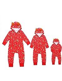 Traje a juego de pijamas familiares de Navidad Sudadera con capucha de mameluco para bebés de papá mamá Mono entero de Onesie