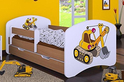 HB Kinderbett mit Matratze und Bettkasten - NEU , Verschiedene Motive Für Junge Buche (160x80cm ohne Schublade, BAGGER)