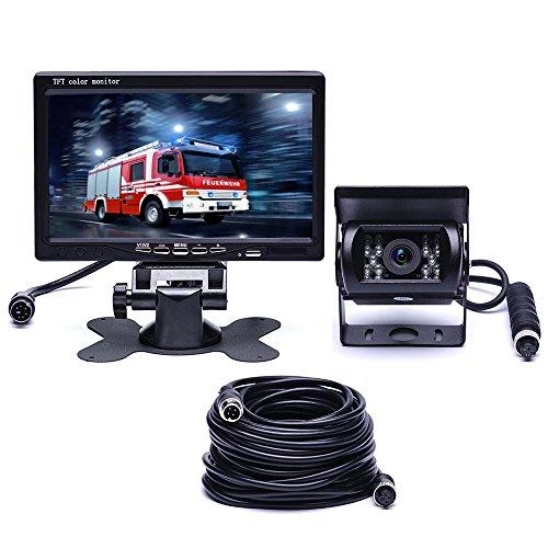 Podofo coche de visión trasera impermeable 18 IR LED de visión nocturna de coches de inversión Kits de cámara de copia de seguridad 7 'TFT LCD Monitor vehículo de asistencia para el sistema de RV / autobús / remolque / camión / caravana (con 33 pies de 4 pines de extensión de aviación Cable)