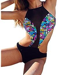 de22666c37 Maillot de Bain Femme 1 Pieces Push up Elegant vntage Bikini Bandeau  Bresilien Trikini,Femme