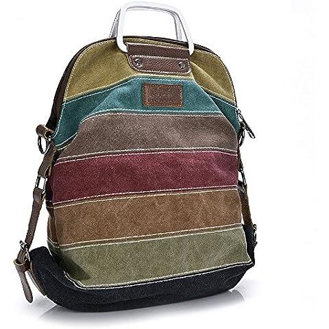 R.I.S Donna Tela Strisce Multicolore Borsa Larga da Donna Borsa