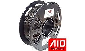 AIO Robotics AIOBLACK PLA 3D Printer Filament, 0.5 kg Spule, Durchmesser 1.75 mm, Schwarz