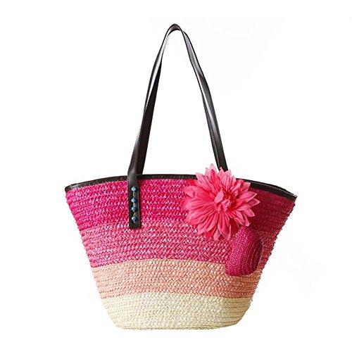 JOMNM Damen Seinen Der Pastoralen Stil Rainbow Stroh Schultertaschen Sea Beach Tote Handtasche/Einkaufstasche. Pink