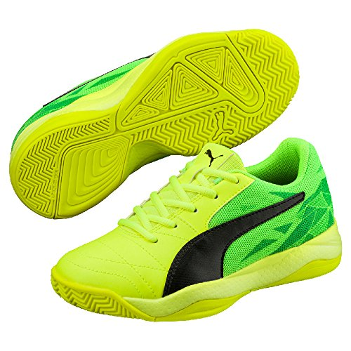 Puma Veloz Indoor Iii Jr, Chaussures de Fitness Mixte Enfant Safety Yellow-Puma Black-Green Gecko