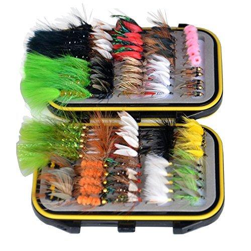 outdoorplanet Trocken-Fliegen, fliegen, Nymphe und Streamer Fliegen Köder + Wasserdicht Fly Box für Fliegenfischen Fliegen, 100Stück
