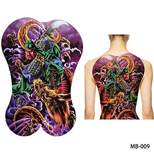 adgkitb 2 Stück Full Back Brust Tattoo Aufkleber Wolf Tiger Dragon MB 009 34x48cm -
