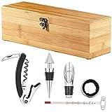 Carlo Milano Wein Geschenkbox: 5-teiliges Sommelier-Set in Edler Geschenkbox für 1 Weinflasche (Wein Geschenkkiste)