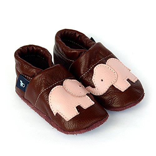 pantau.eu Leder Krabbelschuhe Lederpuschen Babyschuhe Lauflernschuhe mit Elefant BRAUN_ROSA