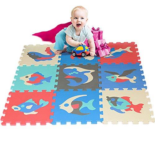 PER 9pcs Eva Foam Spielmatte Puzzle Cartoon Tier Muster Bunte Fliesen Krabbeln Matte für Kinder Kleinkinder 30 × 30 CM-B