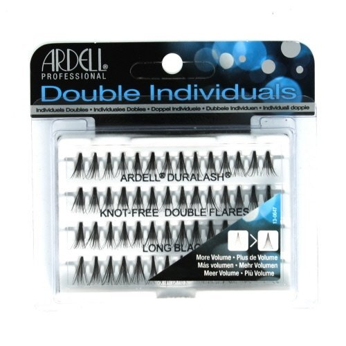 (6 Pack) ARDELL Professional Double Individuals Knot-Free Double Flares - Long Black -