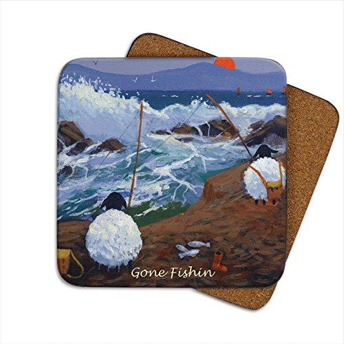Gone Fishin 'Untersetzer von Thomas Joseph-Funny Schaf -