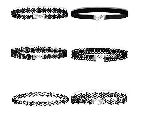 Youkara, Choker-Halsketten-Set für Teenager/Mädchen, Leder, Halskette, Schwarz, klassische Länge, verstellbar, 6 Stück -