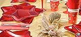 KIT 10 OSPITI RED STAR STELLA ROSSA COORDINATO TAVOLA NATALE (10 PIATTI STELLA 32 CM ,10 PIATTI STELLA 24 CM,10 BICCHIERI,20 TOVAGLIOLI) CAPODANNO FESTIVITA' NATALIZIE
