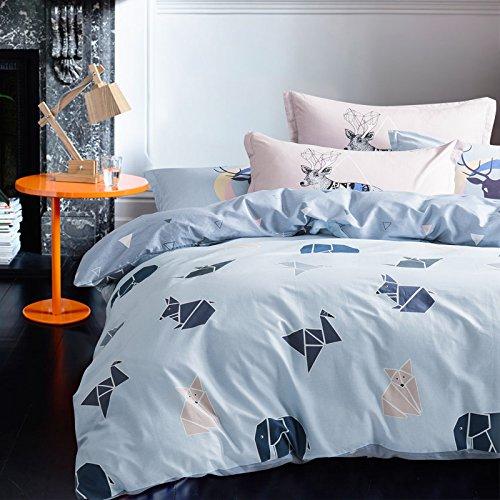 Blaue Blumen-bett-ensemble (Gaw Home Fashion 100% Baumwolle A 4Stück Bettbezug Set Bettwäsche, Bettwäsche King/Queen, (1Bettbezug, 1Bogen, 2Kissenbezüge))