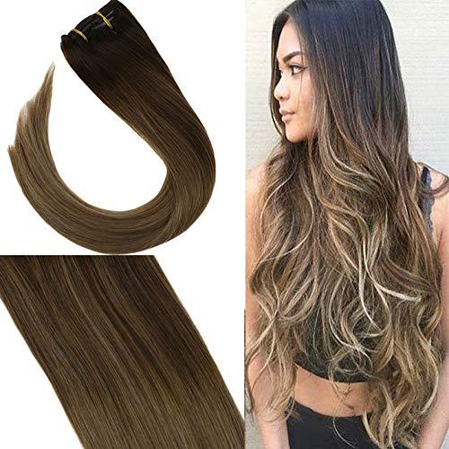 YoungSee 7 Tressen Extensions für Komplette Haarverlängerung Clips Echthaar Braun Blond Balayage 100% Remy Echthaar Clip in Extensions Dickes Haar 40 cm 120g